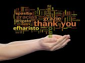 Concept or conceptual abstract thank you word cloud held in hands in different languages or multilingual for education or Thanksgiving Day