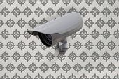 CCTV camera against grey wallpaper