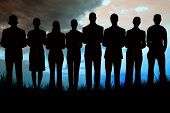 Silhouette of business people in a row against blue sky over grass