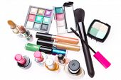 set of makeup products isolated on white background