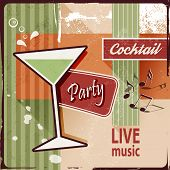 Cocktail party invitation with music notes - vintage poster design