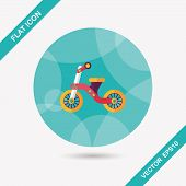 stock photo of tricycle  - Kids Tricycle Flat Icon With Long Shadow - JPG