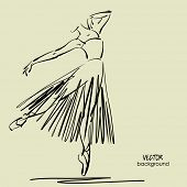 art sketched beautiful young ballerina with long tutu in pose of dance