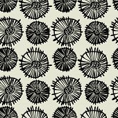 art black graphic geometric seamless pattern, square background with circle floral ornament in art deco style