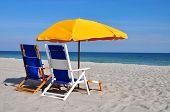 Beach Umbrella and Beach Chairs