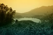 stock photo of lantau island  - View on mountains of Lantau island in Hong Kong - JPG