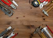 Set Of Tools On  Table