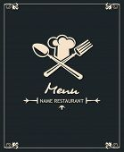 menu design with fork, spoon and hat