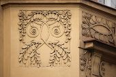 Floral ornamental decoration on the Art Nouveau building in Prague, Czech Republic.