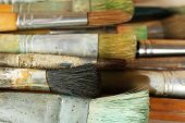 Different paintbrushes close up