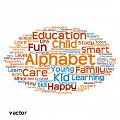 Vector concept or conceptual child education abstract word cloud isolated on white background