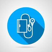 Circle blue vector icon for medical tonometer