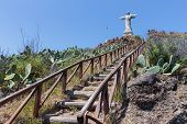 Stairs To Statue Of Jezus Christ At Garajau In Funchal, Madeira