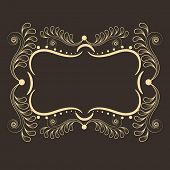 Stylish blank frame decorated by beautiful floral design.