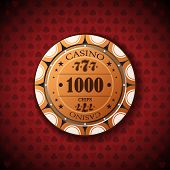 Poker Chip Nominal, One Thousand On Card Symbol Background