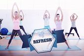 The word refresh and sporty class doing pilate exercises in fitness studio against hexagon