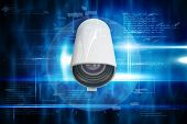 CCTV camera against blue technology design with cube