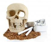 Smoking human scull with cigarette in his mouth, isolated on white
