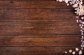 wooden background with seashells, summer sea vacation concept