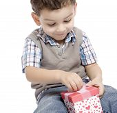 The little boy receives a beautiful gift