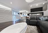 Modern Interior Design Living Room With Kitchen