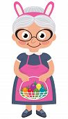 Grandmother Holding A Basket With Easter Eggs