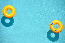 picture of bathing  - Yellow pool float - JPG