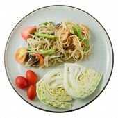 image of green papaya salad  - Thai Cuisine and Food Som Tam or Green Papaya Salad Made With Unripe Papaya Yardlong Bean Tomato Chili Peanut and Lime - JPG