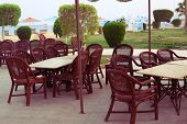 foto of all-inclusive  - open air restaurant in egyptian all inclusive resort hotel - JPG