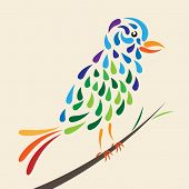 pic of faerie  - Beautiful fairy tale bird perched on branch - JPG