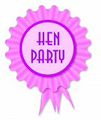 stock photo of rosette  - Pink and purple rosette with the legend hen night - JPG