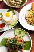pic of thai cuisine  - Variety of authentic Thai cuisine and stir fry dishes - JPG