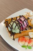 stock photo of whipping  - Honey toast and whipping cream with chocolate sauce and ice cream - JPG