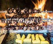 image of spit-roast  - birds turning on a spit and cook slowly to the heat of the flame in the fireplace - JPG