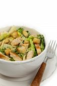 stock photo of caesar salad  - Classic Caesar Salad with croutons on white background - JPG