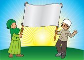 pic of muslim kids  - Two Asian Muslim kids holding a large banner - JPG