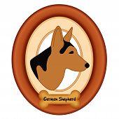 pic of shepherd dog  - German Shepherd dog profile portrait in cherry wood mat frame - JPG