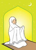 pic of humble  - Muslim asian woman praying in the mosque - JPG