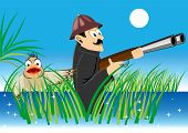 image of hunter  - illustration of a duck standing behind the hunter with a gun - JPG