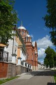 stock photo of nicholas  - The view towards Pokrovsky and St Nicholas Cathedrals from parish sunday - JPG