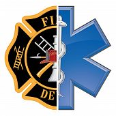 stock photo of maltese-cross  - Fire and Rescue is an illustration of a combination firefighter symbol and a rescue symbol design in full color - JPG