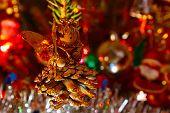 pic of christmas angel  - Shining lights and angel on the Christmas tree - JPG