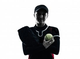 stock photo of softball  - one woman playing softball players in silhouette isolated on white background - JPG