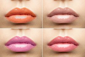 pic of big lips  - Beautiful full lips with glossy lipstick nude collection close - JPG