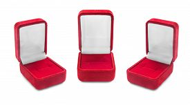 foto of jewel-case  - Group of red empty jewel boxes on white background - JPG