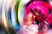 Porträt einer schönen venezianischen Maske auf Unschärfe-Hintergrund