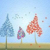 Graphic art design on colorful trees