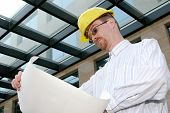 Architect With Architectural Plans poster