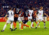 DONETSK, UKRAINE - FEB 25: Players in match UEFA Europa League match between FC Shakhtar(UKR) vs. Fu