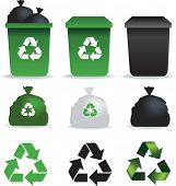 Illustration of  a set of rubbish bins and recycle symbols